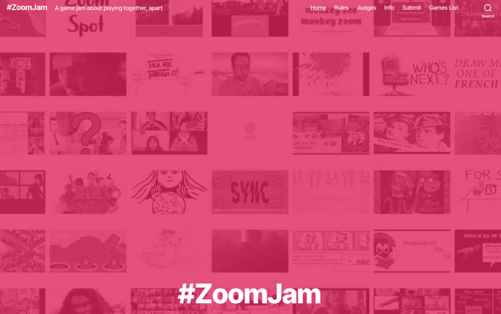 "Screenshot of the ZoomJam website with thumbnails of the games in the background (with DIYSPY logo on the left) and ""#ZoomJam"" bottom middle in white text."